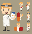 Set of doctor characters poses with the pill vector image vector image