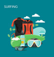 surfing equipment flat style design vector image vector image