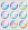 transparent colored soap bubbles vector image vector image