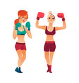 two pretty boxer women girls in boxing gloves vector image vector image