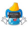 virtual reality cartoon baby drinking from vector image