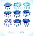 Watercolor rainy clouds vector image