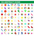 100 abstract icons set cartoon style vector image