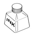 line drawing of ink bottle -simple line vector image