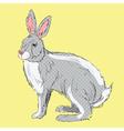 Retro style hand drawn rabbit vector image