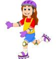cute girl cartoon playing roller skates vector image
