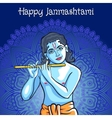 Hindu young god Lord Krishna Happy janmashtami vector image