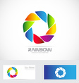 Color aperture photography shutter icon logo vector image