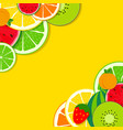 abstract mixed flat fruit background vector image vector image
