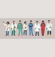 african american doctor and nurse wearing face vector image vector image