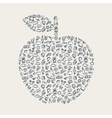 an apple with education elements vector image