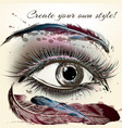 beautiful female eye with make up hand painted vector image vector image