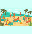 body positive people on sea beach playing ball vector image vector image