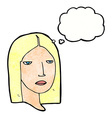 cartoon serious woman with thought bubble vector image