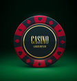 casino chip with place for textrealistic theme vector image vector image