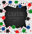 casino chips and playing cards dark background vector image