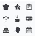 Coffee cup icon Chef hat symbol Birthday cake vector image vector image
