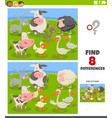 differences educational game with cartoon farm vector image vector image