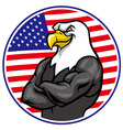 eagle mascot show the muscle with american flag