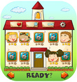 Game template with children in the house vector image vector image
