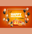 halloween poster with scary pumpkin balloon vector image