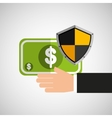 hand hold banknote shield protection vector image vector image