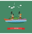 Kayaking concept in flat style vector image