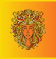 leo girl portrait zodiac sign of fire doodle vector image vector image