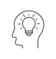 light bulb inside head vector image