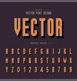 line font and alphabet shadow tall typeface vector image vector image