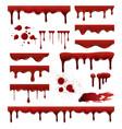 liquid blood red sauces drops splashes blob blood vector image