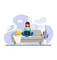 male freelancer working remotely from his desk vector image vector image