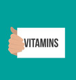 man showing paper vitamins text vector image
