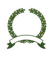 olive branch green crown and ribbon on bottom vector image vector image