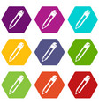pencil with eraser icon set color hexahedron vector image vector image