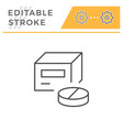 pills package editable stroke line icon vector image vector image