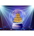 realistic snow globe with golden christmas tree vector image