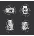 Retro photo cameras set Hand drawn vintage