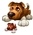 Sad brown cartoon dog isolated vector image vector image