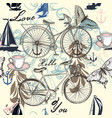 seamless pattern with bicycle and butterflies vector image vector image