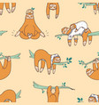 seamless pattern with cute sloths sleeping vector image vector image