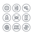 security and protection line icons on white vector image vector image