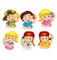 set boy and girl character vector image