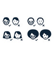 set male female faces heads with protective vector image vector image
