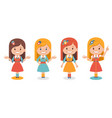 set of smiling cute girls in different poses vector image vector image