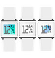 set of white clock with color displays vector image