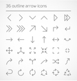 set outline arrow icons vector image