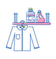 shelf with detergent bottle and clothes hanging vector image