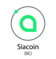 siacoin cryptocurrency symbol vector image