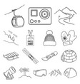 ski resort and equipment outline icons in set vector image vector image